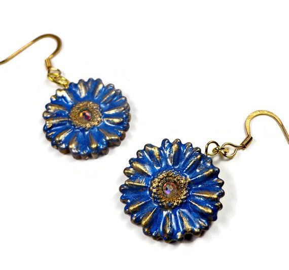 Royal Blue Flower Earrings Polymer Clay Earrings by BeadazzleMe  Santa #fashion #earrings #jewelry