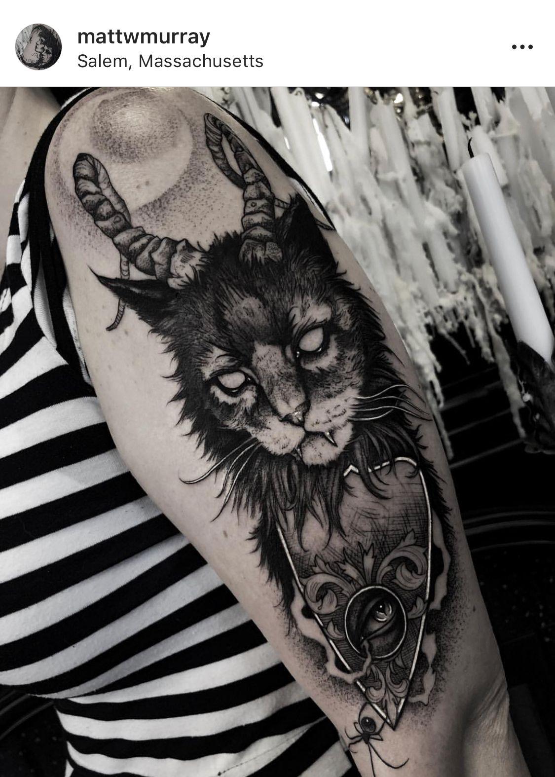Pin by Eva Kroon on Tattoo Satanic tattoos, Cat tattoo