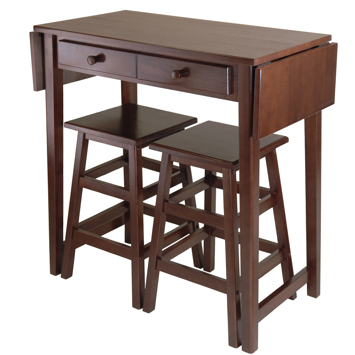 Winsome Mercer Double Drop Leaf Kitchen Island - with FREE 2 Stools ...