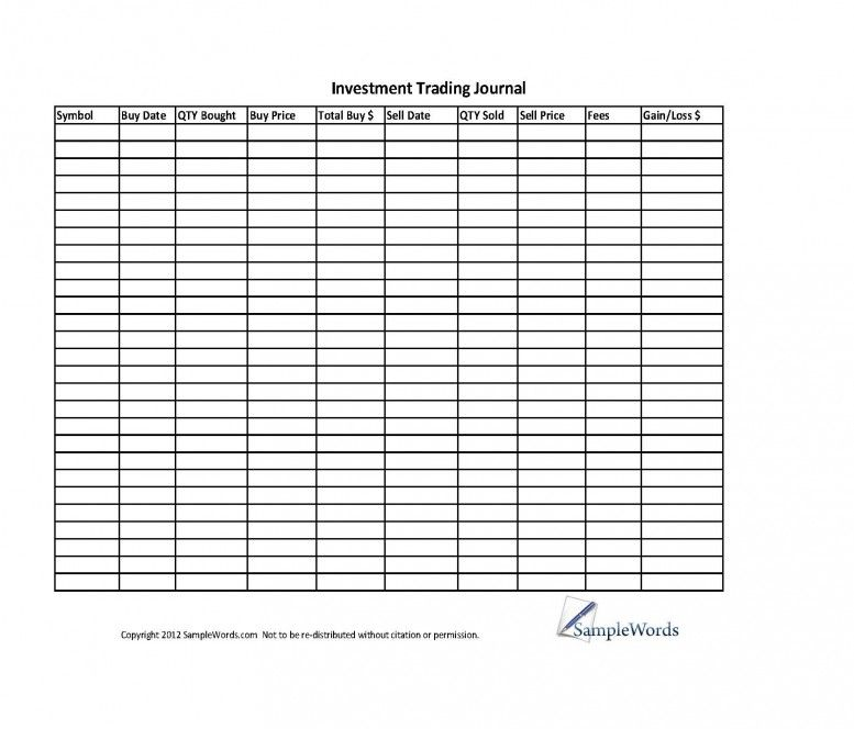 trading journal spreadsheet download