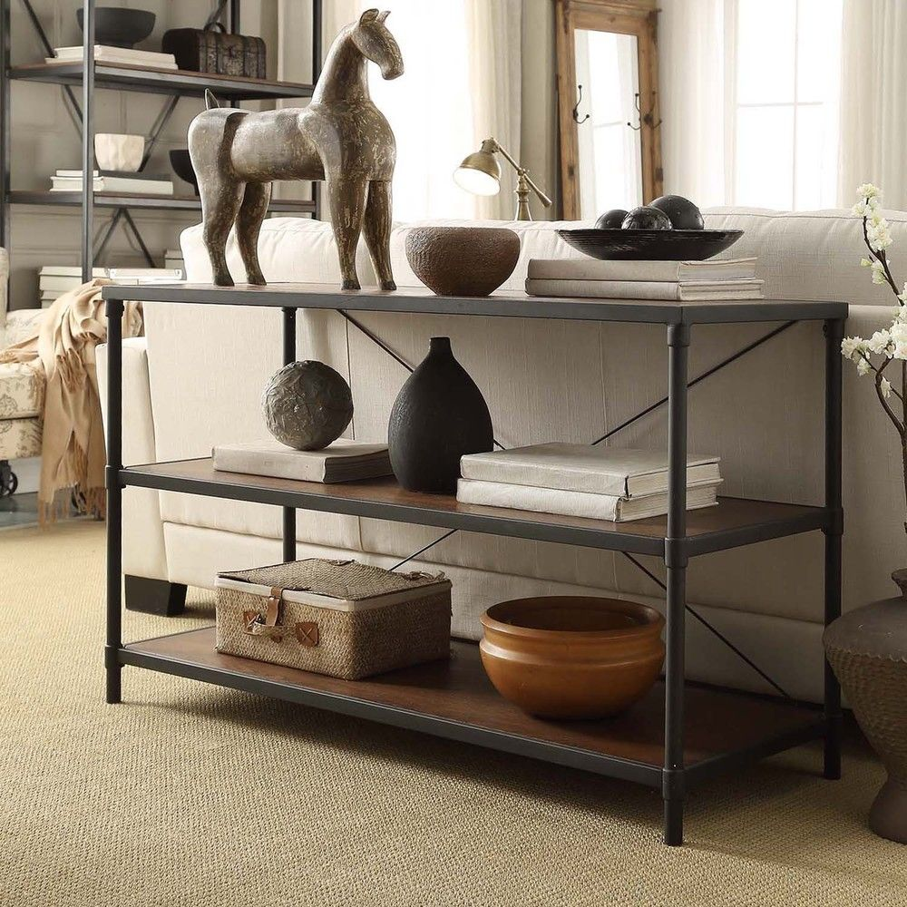 Harrison Industrial Rustic Pipe Frame TV Stand Console Table by iNSPIRE Q  Classic by iNSPIRE Q