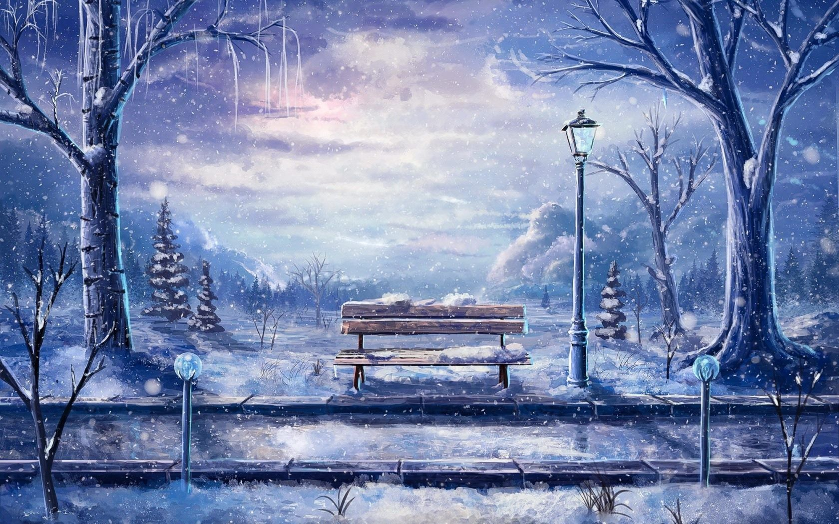 Beautiful Anime Scenery Winter Art Anime Background