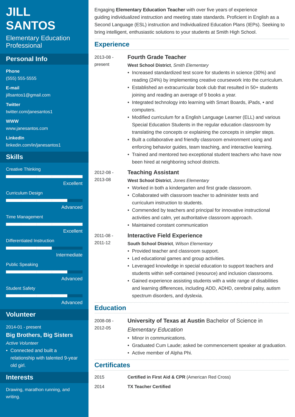 teacher resume template cascade in 2020 Teacher resume