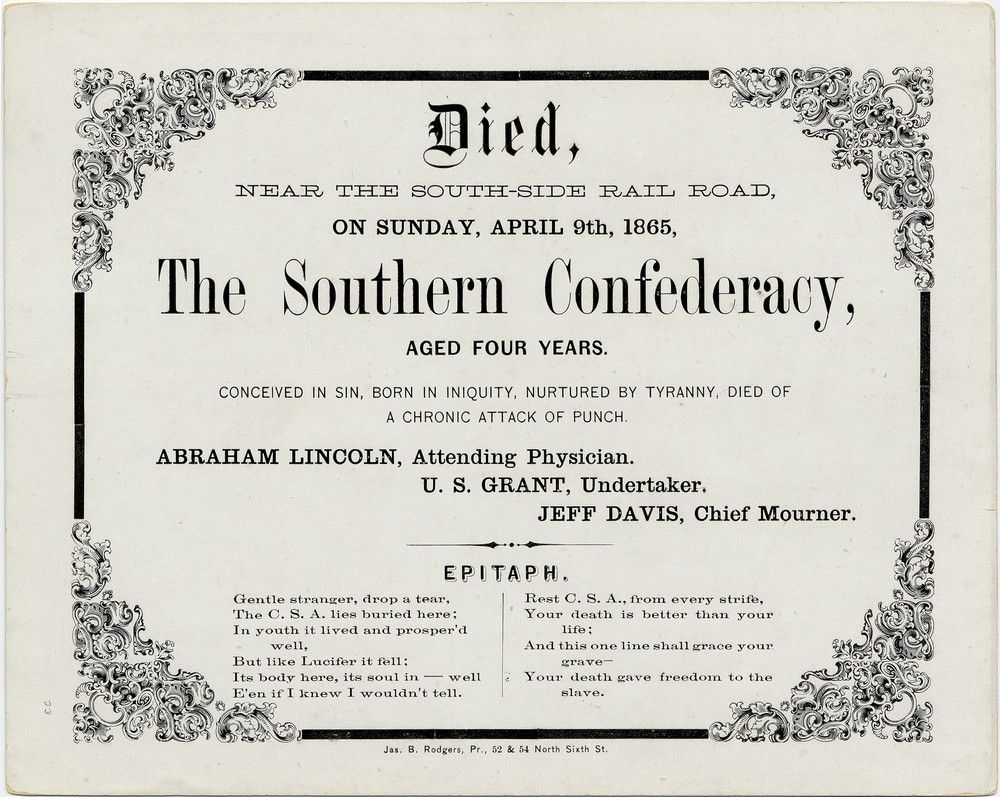 A Fake Death Certificate Announcing The Passing Of The Confederate