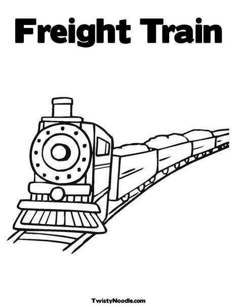 Freight Train Coloring Page From Twistynoodle Com Customizable