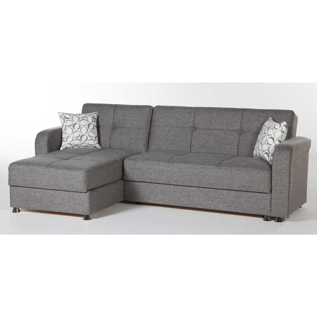 Visions Sectional Diego Gray Grey Sectional Sofa Sectional