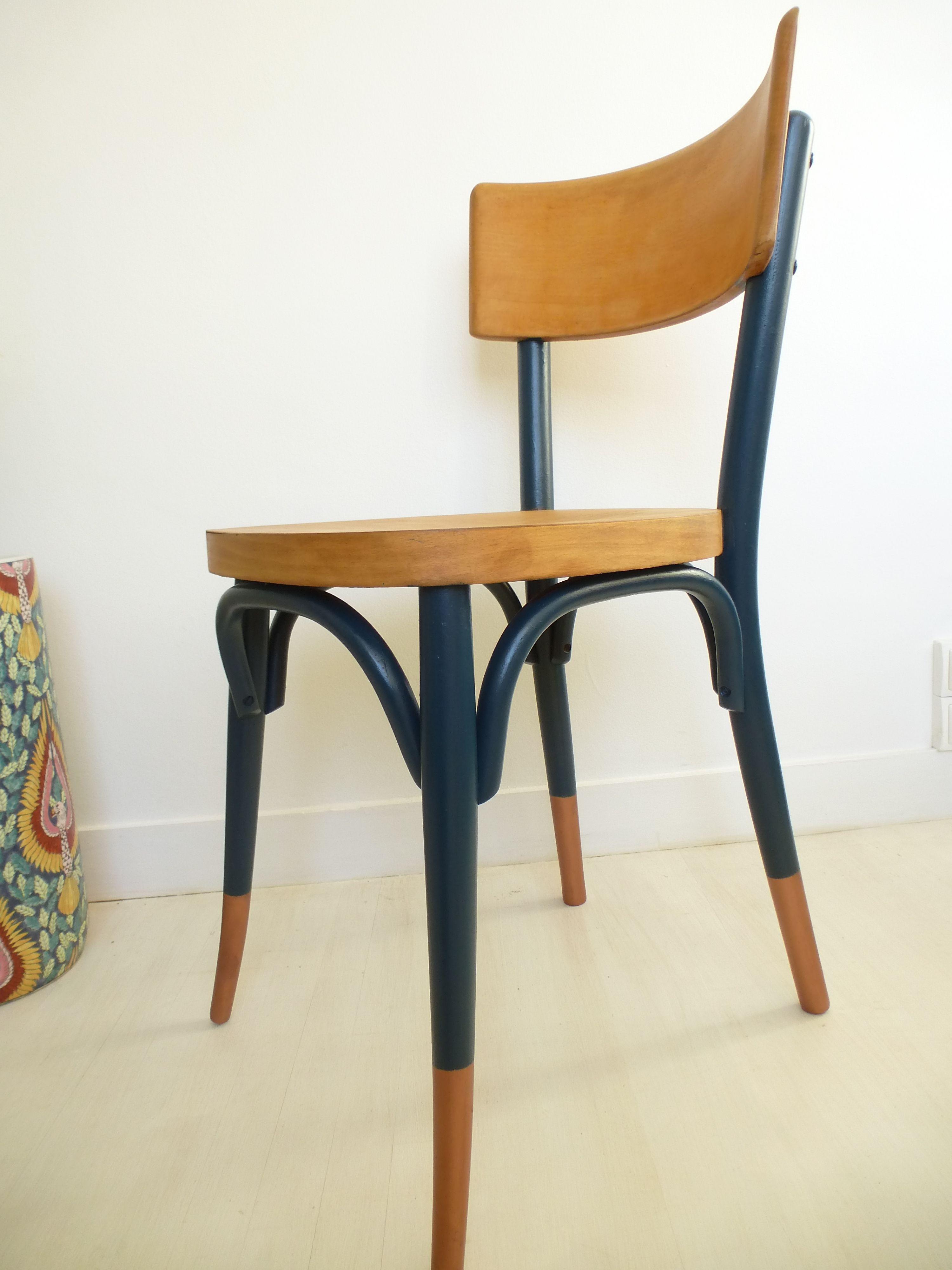 chaise baumann vintage relookée tons bleu bois cuivre   beach house