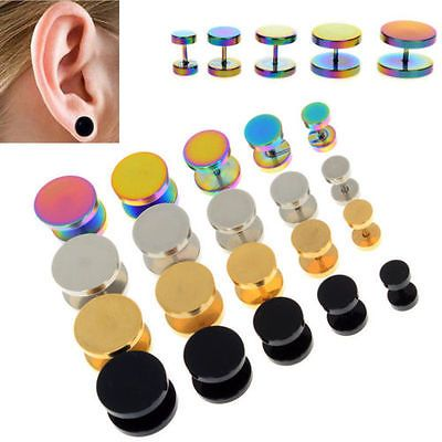 CA 10MM Mens Women Gold Circle Stud Earrings with Red Acrylic Steel Cheater Fake Ear Plugs Gauges