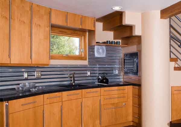 Awesome Corrugated Metal Backsplash Love This Idea With Red High Gloss Cabinets And Concrete Counters Grain Bin House Silo House Grain Silo