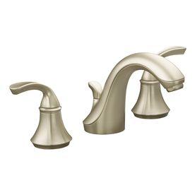Forte Vibrant Brushed Nickel Handle Widespread WaterSense Bathroom - Bathroom sink faucet drain assembly