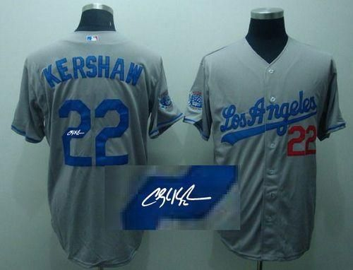 Dodgers  22 Clayton Kershaw Grey Cool Base Autographed Stitched MLB Jersey 569becea6