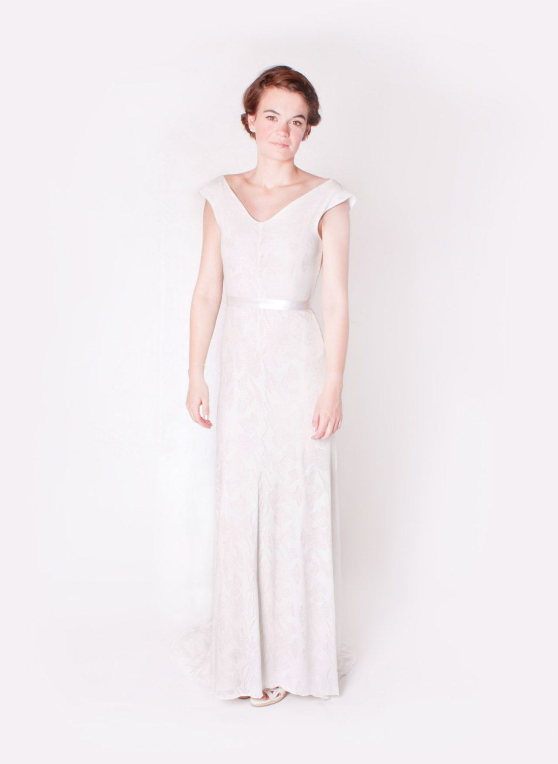 Floral ivory simple jersey wedding dress with back necklace by