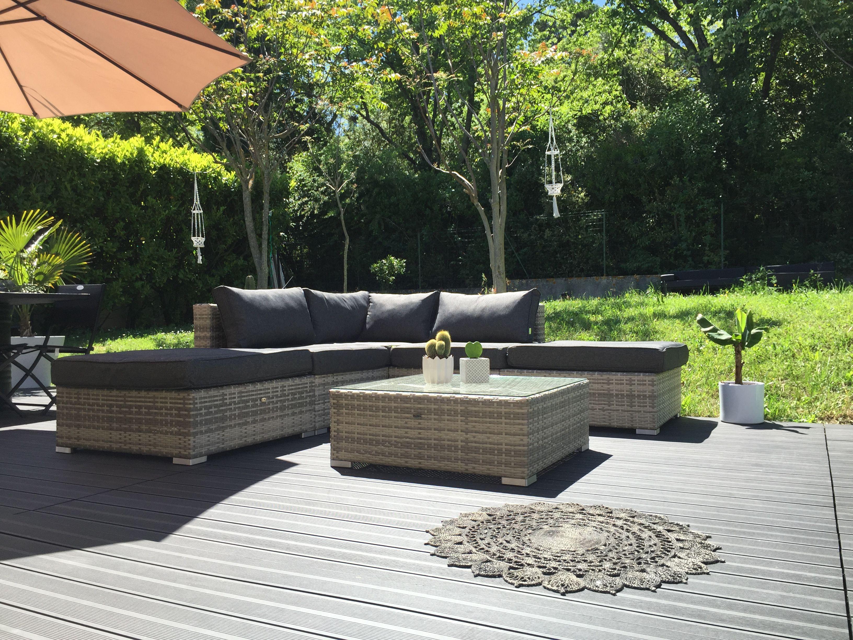 Milano salon de jardin 7 places en résine tressée jardin