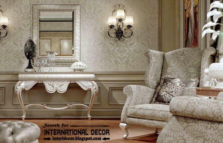 Luxury Classic Interior Design Decor And Furniture Silver Dressing Table With Mirror