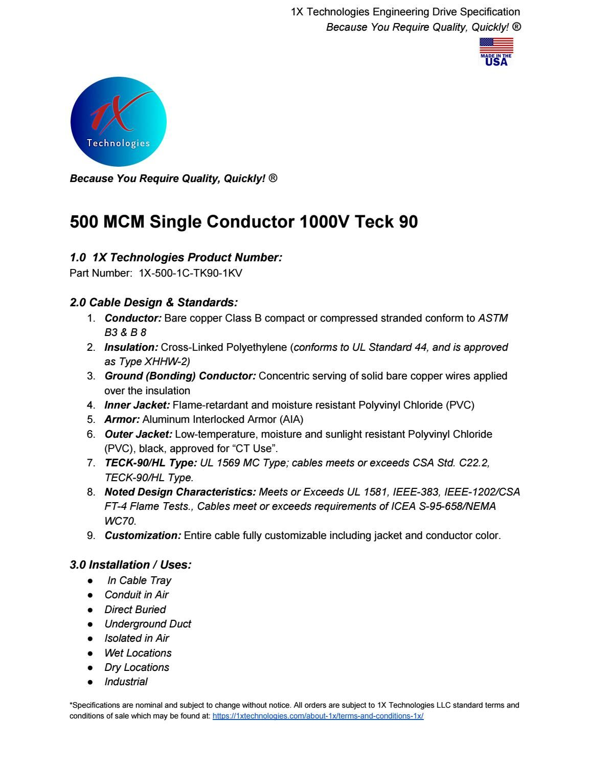 500 Mcm Single Conductor 1000v Teck 90 1x Technologies Llc Conductors Technology Mcm