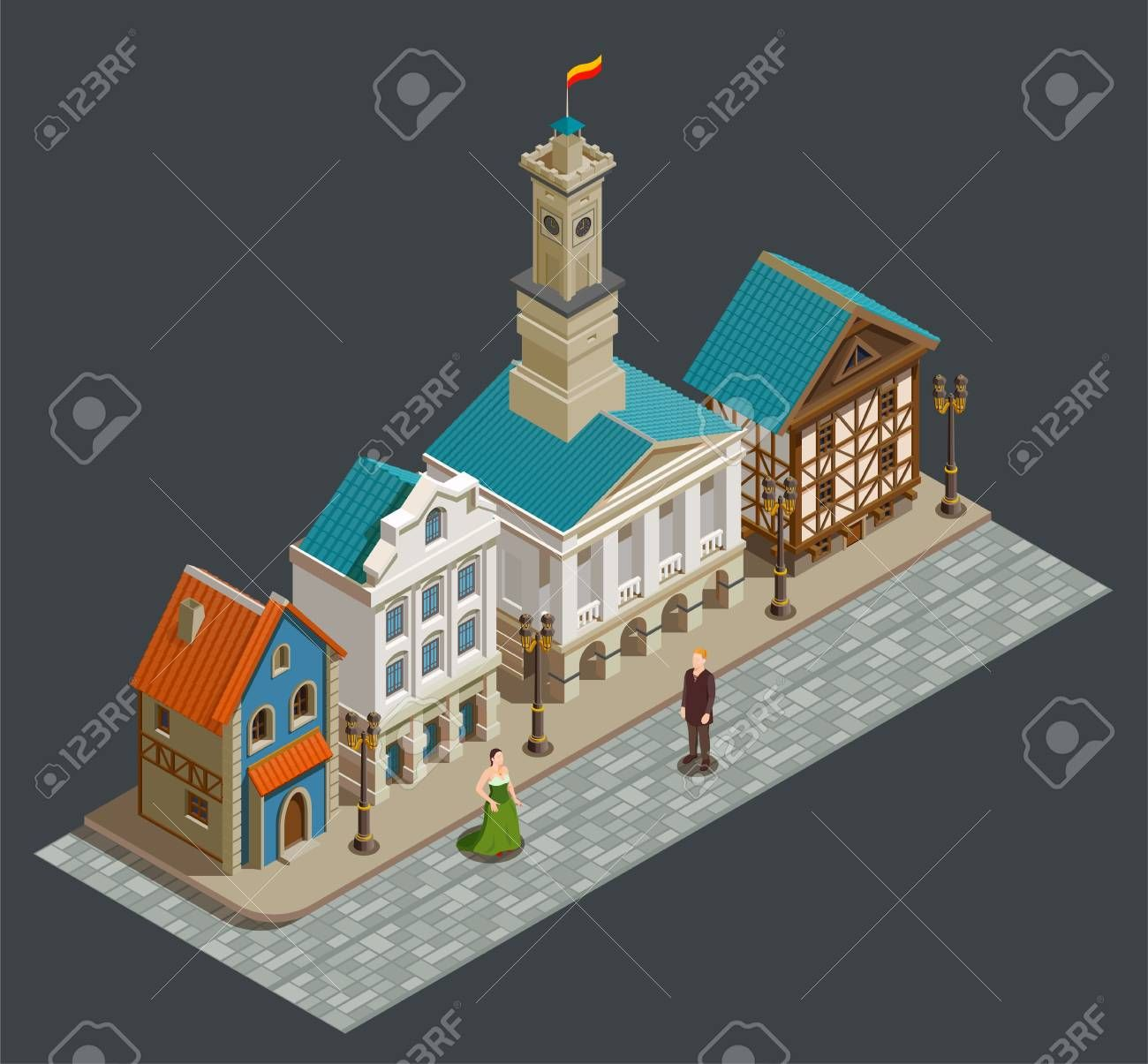 Medieval urban architecture isometric composition with wealthy people private buildings in residential area city street vector illustration Illustration