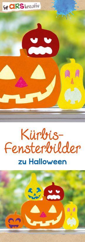 K rbis fensterbilder aus bunt und transparentpapier for Herbstdeko fensterbilder