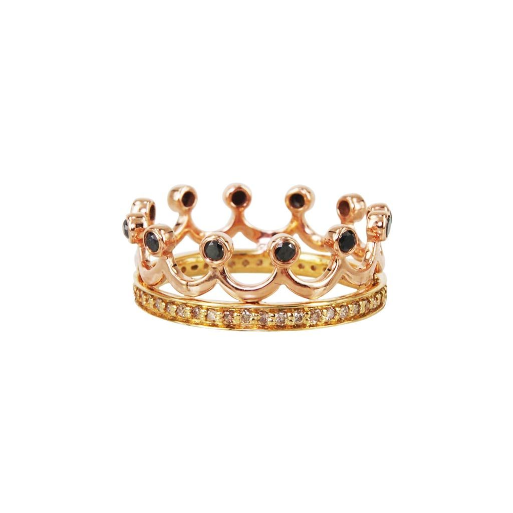 Kingdom 18K Rose Gold Diamond Crown Ring Plukka Shop Fine