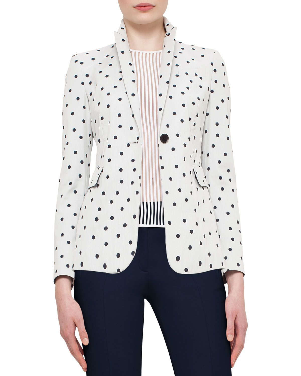 """Akris punto cotton-blend blazer in dot print. Approx. length: 26.5""""L down center back. Peaked lapels; one-button front. Long sleeves. Flap pockets at waist. Fitted silhouette. Straight hem. Cotton/nyl"""