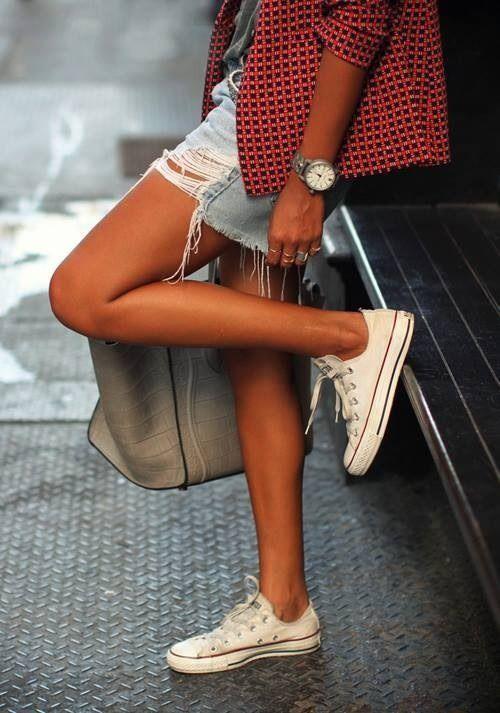 Tan legs + white chucks & distressed jean shorts. | Fashion