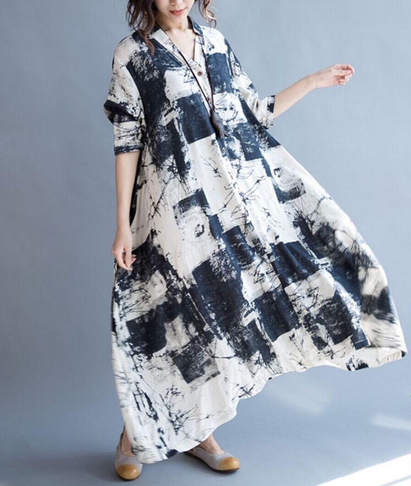 Qa0 Women S Long Dress Summer Casual Maxi Loose Fit Baggy Skirt 3 4 Sleeve Linen Womens Long Dresses Summer Dresses For Women Long Summer Dresses [ 1000 x 845 Pixel ]