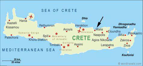 Kreetan lentokentät kartalla