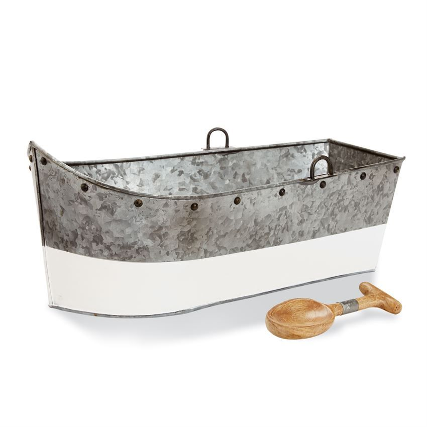 Galvanized Tin Boat Shaped Beverage Tub Features Glossy White