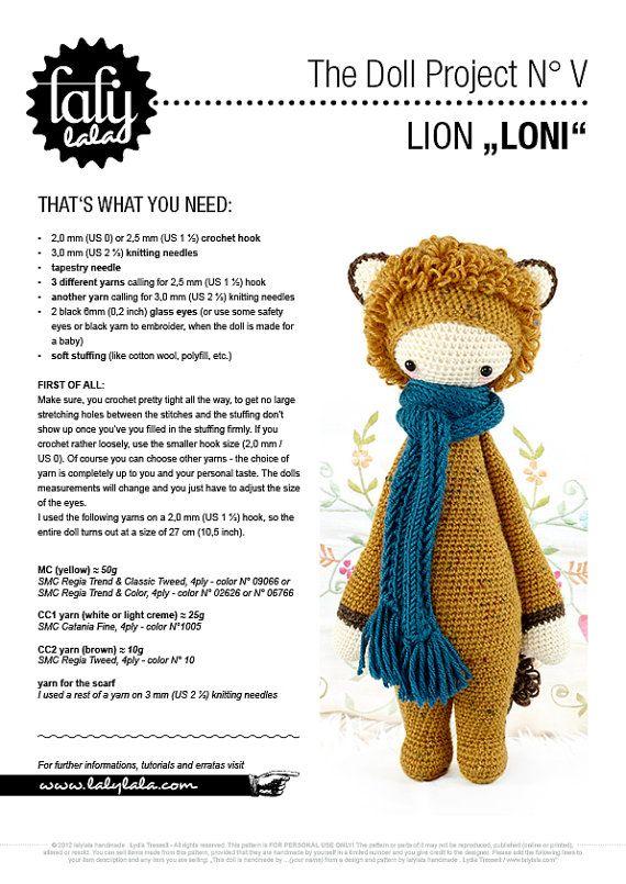 LONI the lion • lalylala crochet pattern / amigurumi | Tejer ...