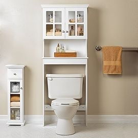 Pin On Wood, White Over The Toilet Cabinet With Towel Bar