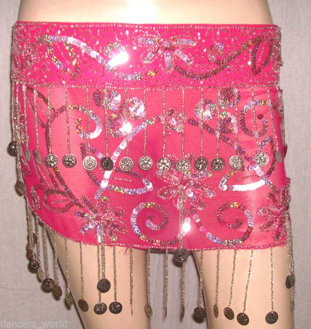 Hot Pink Silver SPARKLING Sequin Coin Beaded BELT