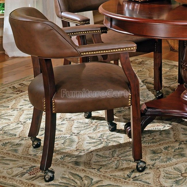 Tournament Arm Chair W Casters Brown Dining Chairs Mixed