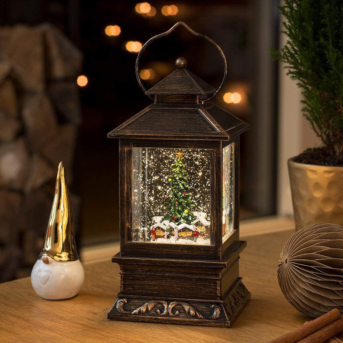 Schneelaterne Weihnachtsmarkt LED wassergefüllt