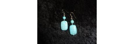Natural Turquoise Stone Pierced Earrings by MaggieRozeCreation, $6.99