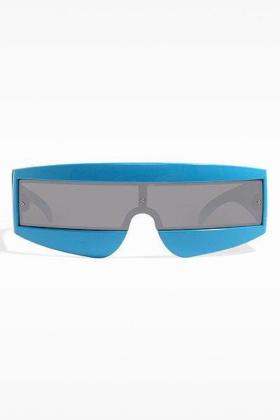 'Flat Out' Futuristic Curved Sunglasses - Blue - 5391-4