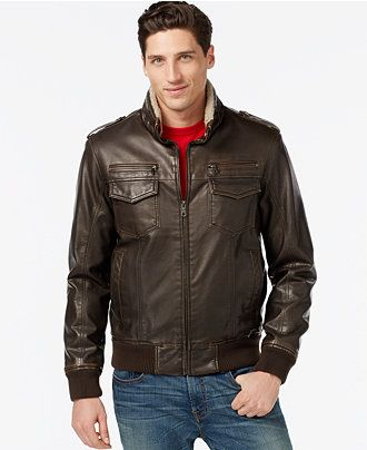44192f892 Tommy Hilfiger Faux-Leather Faux-Fur Military Bomber Jacket - Coats ...