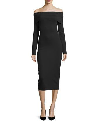 Long-Sleeve+Off-the-Shoulder+Dress,+Black+by+THE+ROW+at+Bergdorf+Goodman.