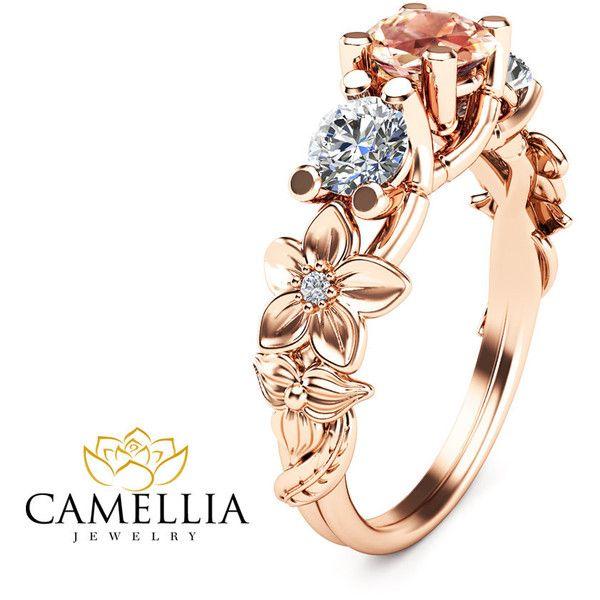Three Stone Ring 14k Rose Gold Morganite Ring Camellia