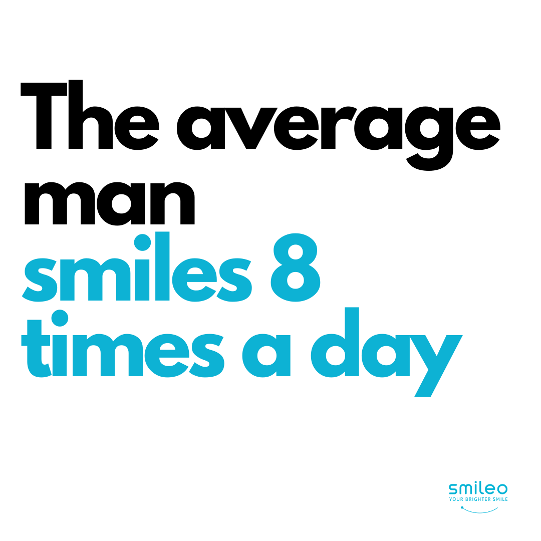Did you know that the average man smiles 8 times a day? #Brighterteeth #smileo #TeethWhitening #OralCare #Beauty #BeautyProducts #NaturalProducts #AllNatural #AtHomeWhitening #BrighterSmile #VeganProduct #OralCosmetics #CrueltyFree #CrueltyFreeBeauty #CrueltyFreeCosmetics #OralCareRoutineBeautyProducts #facts #beautyfacts #smilingisattractive #smilemore