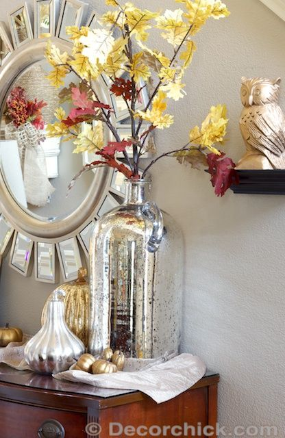 Simple Fall Decorating and Vignette With Huge Mercury Glass Vase