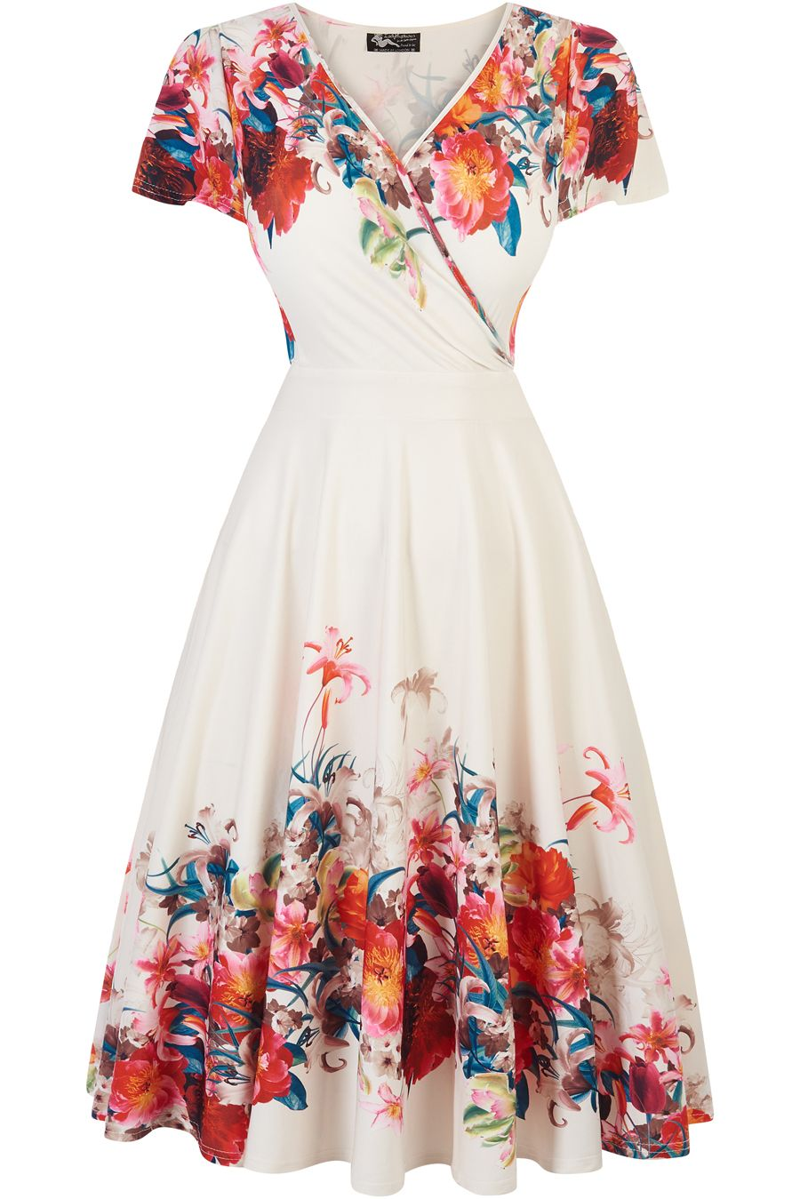 The iconic Elegant Floral Border Lyra Dress is back for
