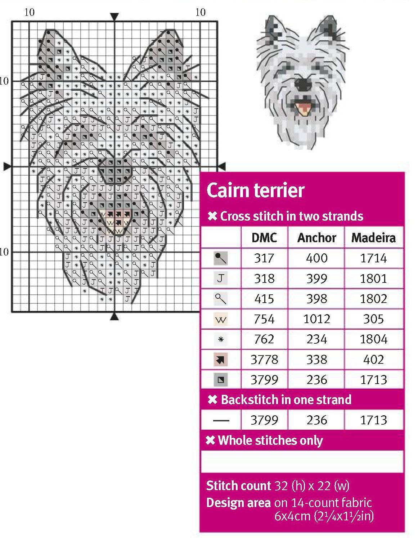 Cairn Terrier Cross Stitch Pattern Simple Cross Stitch