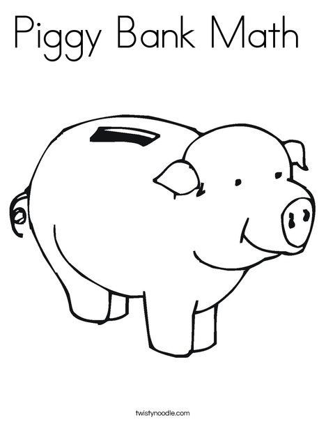 Piggy Bank Coloring Page For Money Activiities Money Math Math