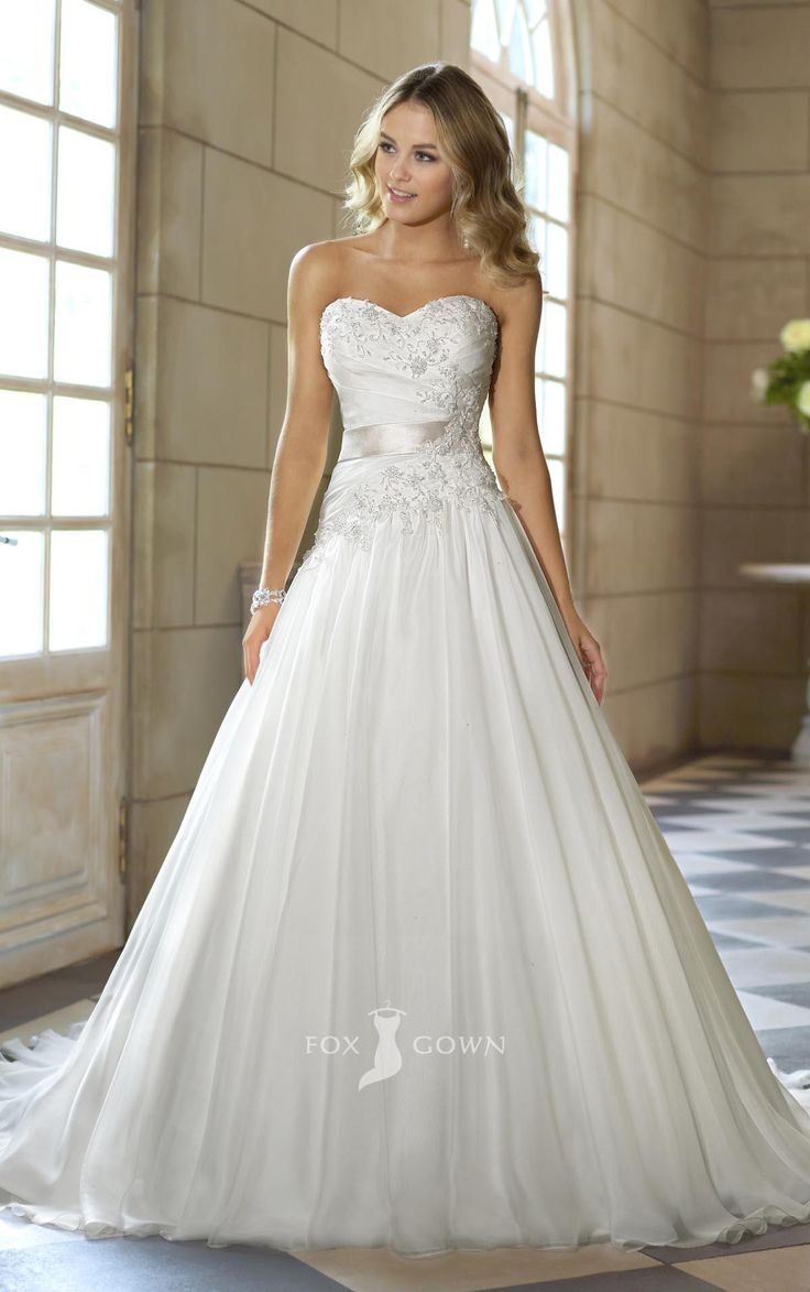 Beach wedding dress under 500  Strapless sweetheart ball gown with embroidered bodice  Chiffon