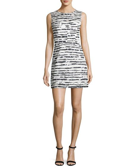 MILLY Nina Sleeveless Floral Striped Burnout Dress, Black. #milly #cloth #