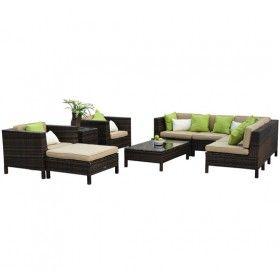 conjunto muebles jardin de ratan piezas y mesas auxiliares terraza rattan