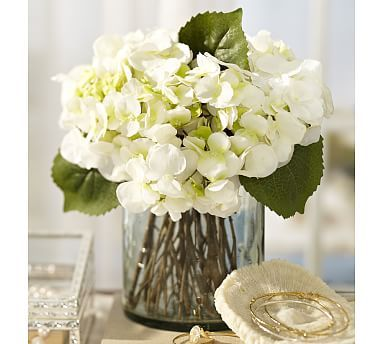 Faux White Hydrangea Arrangement In Gl Vase Clear Vases