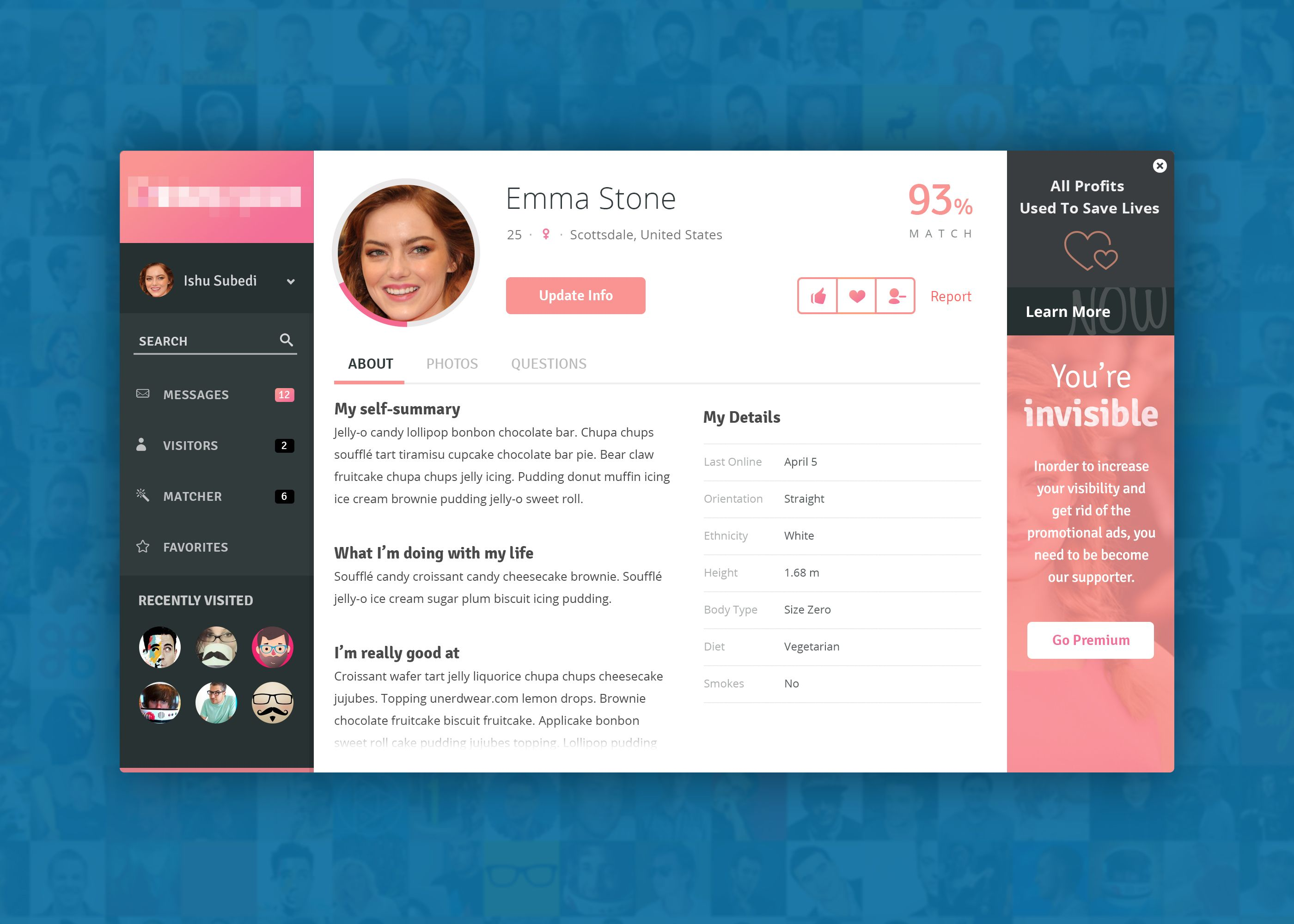 profile page design for dating website found on dribbble