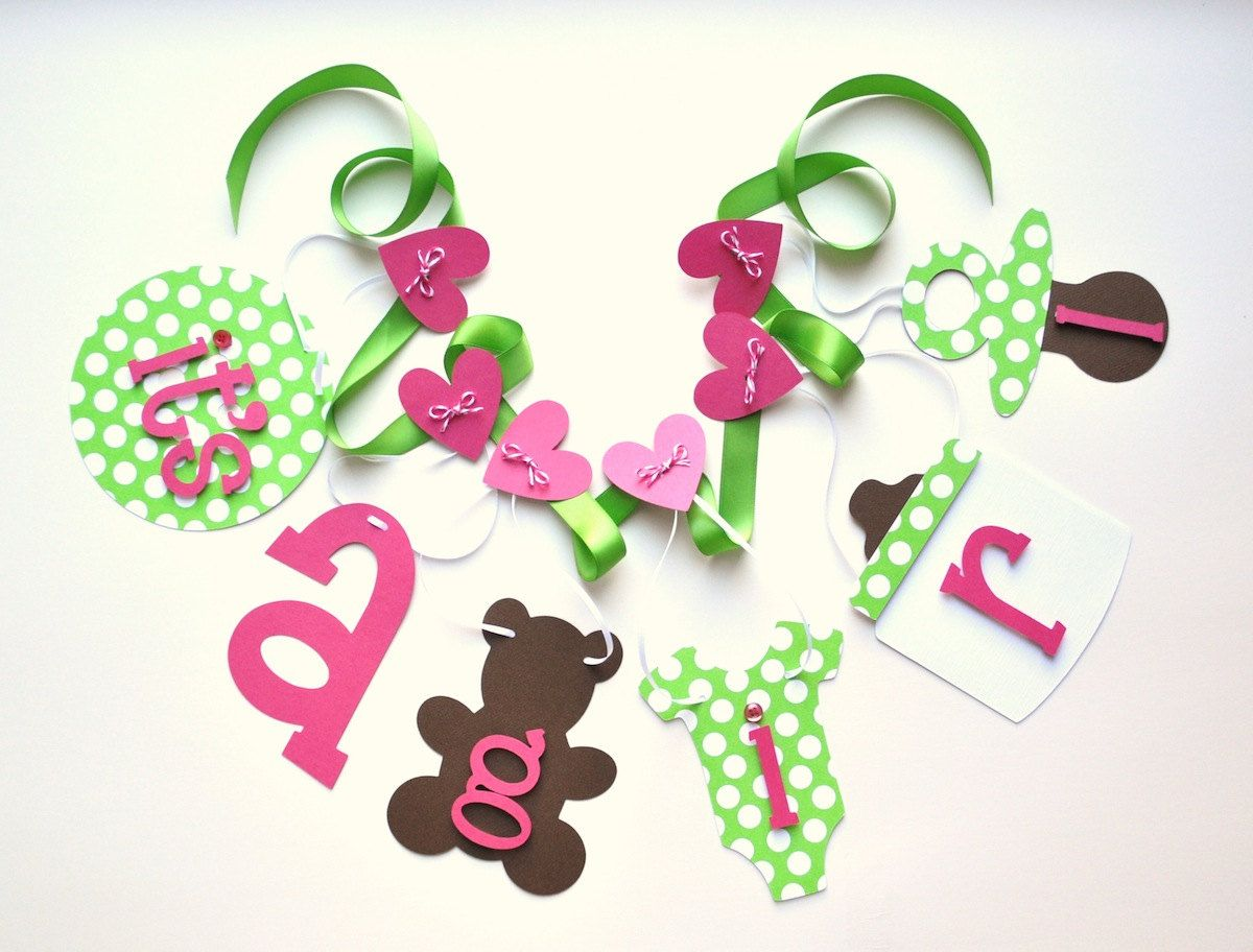 Hot Pink And Lime Green Baby Shower Decorations Itu0027s A Girl Banner By  ParkersPrints On