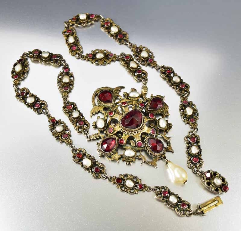 Antique austro hungarian pearl garnet necklace austro hungarian massive and very elaborate antique austro hungarian necklace in gold gilded silver set with large garnet aloadofball Images