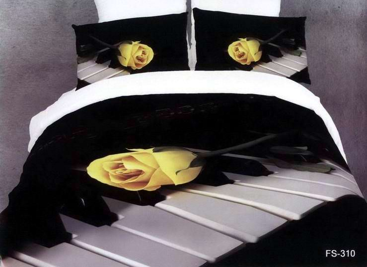 3D Black And White Rose Music Note Floral Bedding